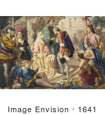 #1641 Illustration of Christopher Columbus Being Greeted by King Ferdinand and Queen Isabella by JVPD