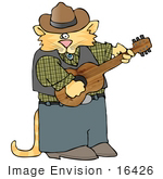 #16426 Orange Cowboy Cat Playing Country Music With A Guitar Clipart