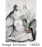 #16453 Picture Of A Baby In A Cradle With Lady Liberty Lady Justice Bald Eagle And Flag