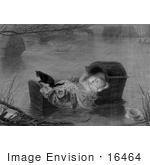 #16464 Picture Of A Baby And Cat In A Cradle Floating On Water During A Flood