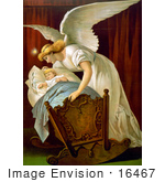 #16467 Picture Of An Angel Rocking A Baby Cradle