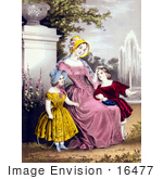 #16477 Picture Of A Mother With Son And Daughter By A Water Fountain In A Park