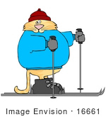 #16661 Fat Orange Cat Skiing Clipart