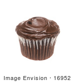 #16952 Picture Of One Whole Chocolate Cupcake With Chocolate Frosting