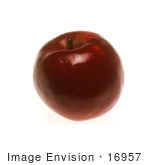 #16957 Picture Of A Shiny Red Apple With A Stem On A White Background