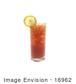 #16962 Picture Of One Full Tall Glass Of Iced Tea With A Lemon Wedge