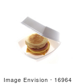 #16964 Picture Of A Ham Egg And Cheddar Cheese Muffin In A Container Breakfast To Go