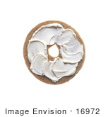 #16972 Picture Of Half Of A Bagel With Plain Cream Cheese Spread On Top