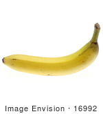 #16992 Picture Of One Whole Ripe Banana With Slight Bruising On A White Background