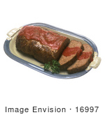#16997 Picture Of A Meatloaf With Two Slices Cut Garnished With A Red Sauce