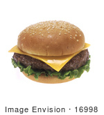 #16998 Picture Of A Classic American Fast Food Cheeseburger With Lettuce On A Sesame Seed Bun