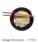 #17101 Picture Of A Pair Of Chopsticks Resting On A Full Bowl Of Cooked White Rice