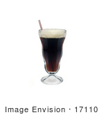 #17110 Picture Of A Glass Of Frothy Root Beer Soda And A Straw Over A White Background