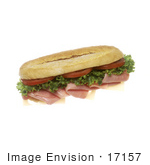 #17157 Picture Of One Whole Sub Sandwich Made With Tomatoes Lettuce Ham And Swiss Cheese