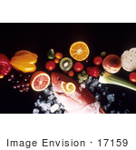#17159 Picture Of A Fish On Ice With Fruits And Vegetables On A Black Background