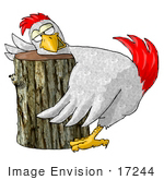 #17244 Chicken Resting His Head On A Wooden Log Chopping Block Clipart
