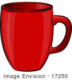 #17250 One Red Coffee Mug Clipart