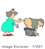 #17257 Nurse Woman Giving A Man A Subcutaneous Injection Vaccine With A Needle In His Butt Clipart