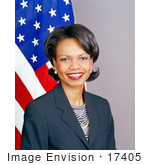 #17405 Picture Of Condoleezza Rice In Front Of The American Flag