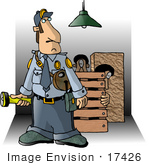 #17426 Male Security Guard With A Flashlight Two Burglars In A Crate In The Background Clipart