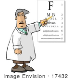 #17432 Optometrist Man Pointing To A Visual Eye Chart During An Eye Exam Clipart