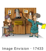 #17433 Female Attorney Male Witness Male Judge And Female Stenographer During A Trial In A Court Room Clipart