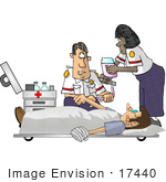 #17440 Caucasian Man And African American Woman Emt Paramedics Using An Iv On An Injured Patient Clipart