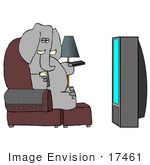 #17461 Gray Elephant In A Chair Watching Tv Clipart