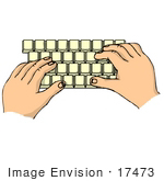 #17473 Hands On A Computer Keyboard Clipart