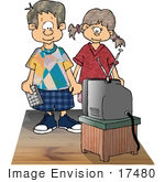 #17480 Boy And Girl Watching Tv Clipart