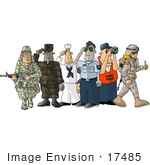 #17485 Men And Woman From Different Branches Of The Military Clipart