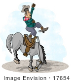 #17654 Cowboy Man Being Bucked Off Of A Bronco Horse In A Rodeo Clipart