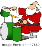 #17662 Santa Claus Drumming A Green Set Of Drums Clipart