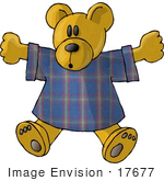 #17677 Stuffed Teddy Bear Toy In A T Shirt Clipart