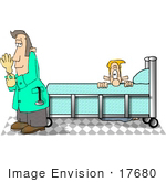 #17680 Patient Hiding From A Prostate Doctor Clipart