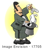 #17705 Magician Man Performing The Pulling A Rabbit Out Of A Hat Trick Clipart