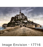 #17716 Picture Of View From The Dike On The Abbey Of Mont St Michel In Normandy France