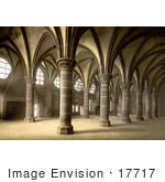 #17717 Picture Of Pillars And Arcades Of The Knights' Hall Of The Mont St Michel Abbey