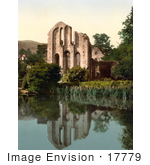 #17779 Photo Of The Ruins Of Valle Crucis Abbey Reflecting On The Surface Of Still Waters