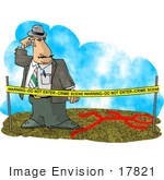 #17821 Crime Scene Investigator (Csi) Man Behind Warning Tape Looking At A Chalk Body Outline Clipart