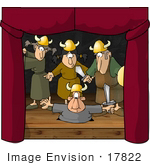 #17822 Actors And Actresses Playing Vikings And Performing On Stage During A Play Clipart