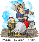 #17827 Cowboy Farmer Man With An Axe About To Butcher A Chicken Who Has Its Head On A Chopping Block Clipart