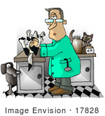 #17828 Shocked Veterinarian Man In An Exam Room With A Dead Dog Clipart