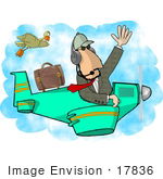 #17836 Pilot Man Waving And Flying A Plane Near A Duck Clipart