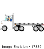#17839 Man Driving A White Flatbed Truck In Reverse Clipart