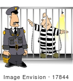 #17844 Prison Guard Standing By A Prison Cell With An Inmate Clipart