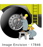 #17846 Man And Woman Workers Adjusting The Lug Nuts On An Earth Mover Machine Clipart