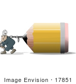 #17851 Man Pulling A Chain Attached To A Giant School Pencil Clipart