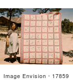 #17859 Photo Of A Woman Standing Beside A State Quilt That She Made