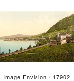 #17902 Picture Of The Railroad And Montreux On Geneva Lake In Switzerland